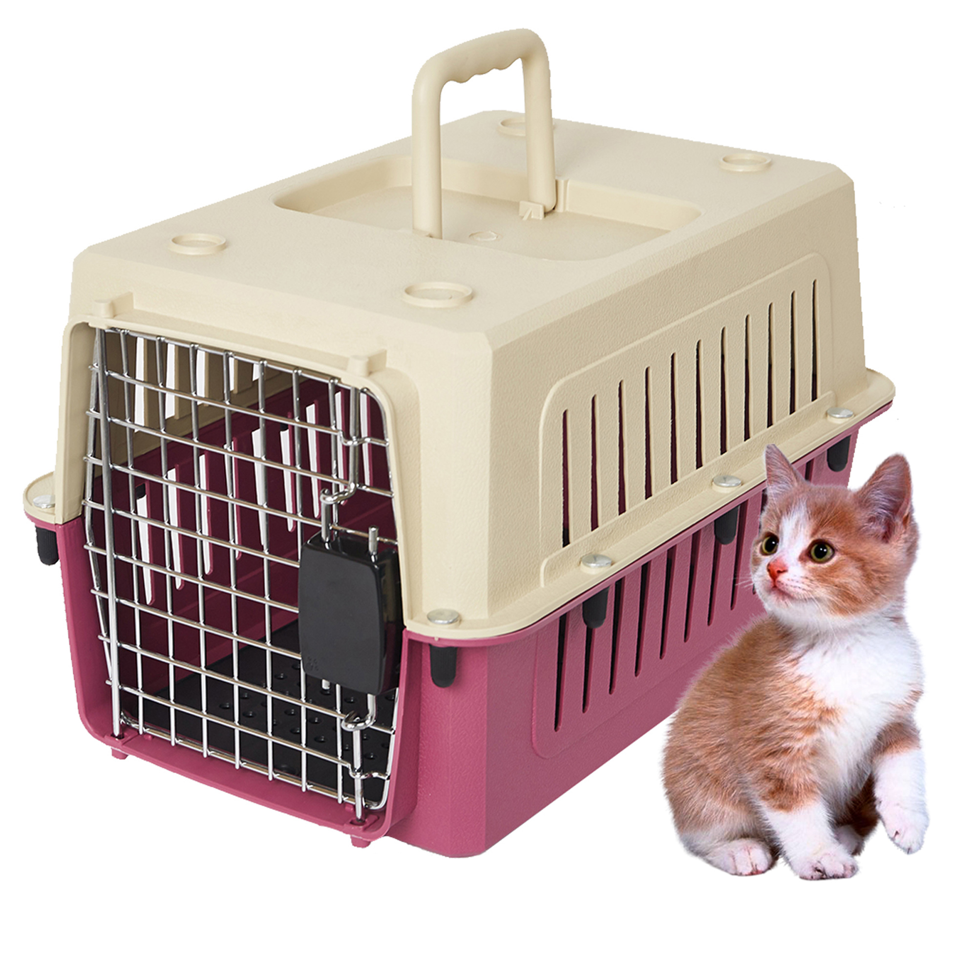 "KARMAS PRODUCT Heavy Duty Portable Kennel Plastic Cat & Dog Carrier Cage Airline Approved,L;24""x16""x16"",Red"