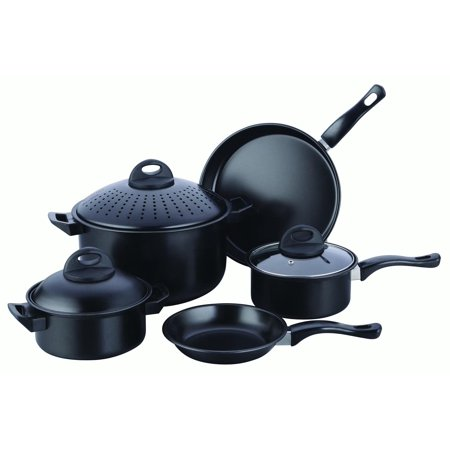 Cookware Set Kitchen Pasta Pot With Strainer Lid Sauce Frying Pan 8 Pcs Black