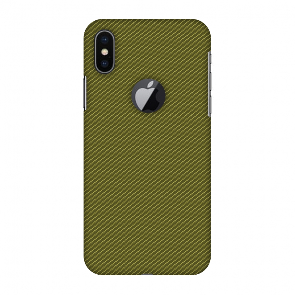 iPhone X Case, Premium Handcrafted Designer Hard Snap on Shell Case ShockProof Back Cover with Screen Cleaning Kit for iPhone X - Golden Lime Texture, Cut for Apple Logo