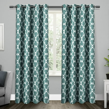 Exclusive Home Curtains 2 Pack Gates Sateen Blackout Thermal Grommet Top Curtain Panels ()