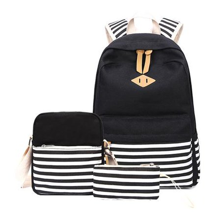c1a7aaa68b4b Cottcuboaba 3 Pieces Girls School Backpack Set Stripes Canvas Cute Bookbag  with Lunch bag