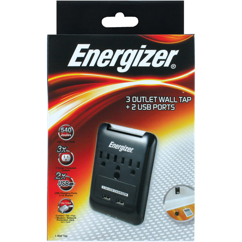 Energizer 3-Outlet Wall Tap with 2 USB Ports, Black