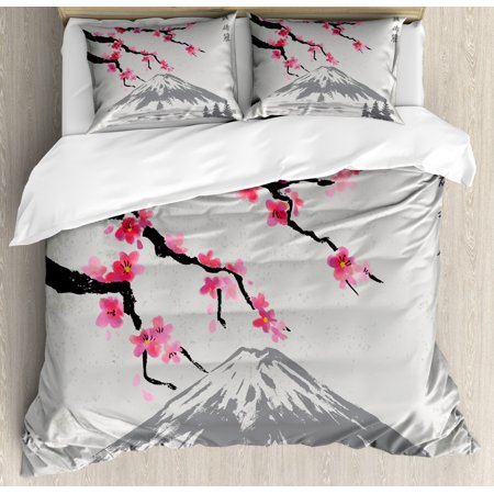 Japanese Duvet Cover Set Queen Size, Greyscale Grunge Background with Fujiyama Mountain and Cherry Blossoms, Decorative 3 Piece Bedding Set with 2 Pillow Shams, Grey Black and Pink, by Ambesonne Mountain Fresh Bedding
