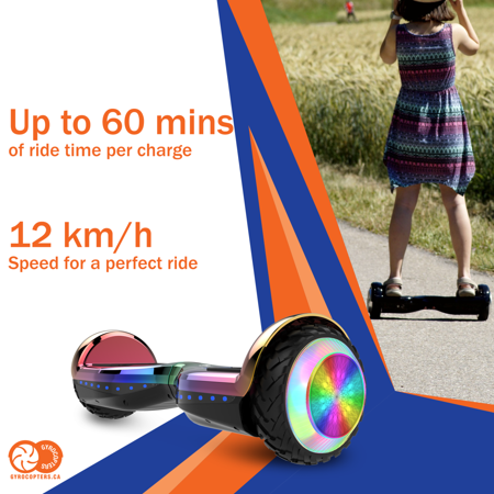 Gyrocopters PRO 6.0 Off-Road Hoverboard - UL 2272 Certified with Bluetooth, LED wheels, APP, No Fall Technology, Front and Back lights (Chrome Rainbow) - image 9 of 10