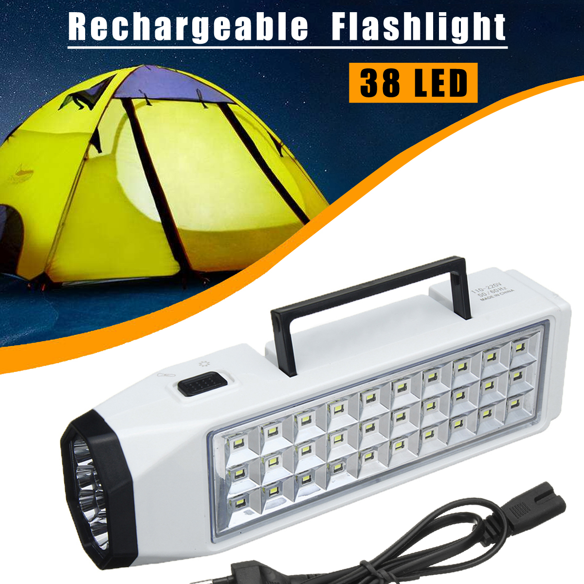 110-220V 38 LED Flashlight Torch Portable Rechargeable Emergency Light Lamp Home Outdoor Camping by