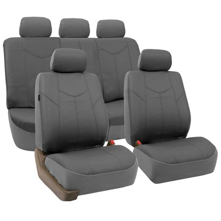 FH Group Gray Rome Faux Leather Airbag Compatible and Split Bench Car Seat Covers, Full Set