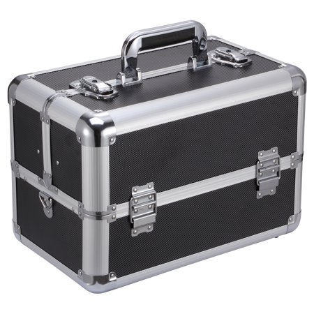 "Image of Allieroo Aluminum 14"" Make up Train Case Professional Large Make Up Artist Organizer Kit Shoulder Bag With Adjustable Dividers Key Lock Cosmetic Studio Box Designed Black"