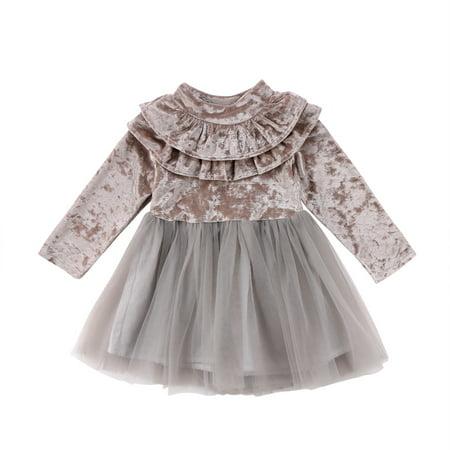 7477c40658e5a Bulingna - Toddler Kids Little Girls Long Sleeve Velvet Tutu Dress Spring  Fall Ruffle Dress - Walmart.com