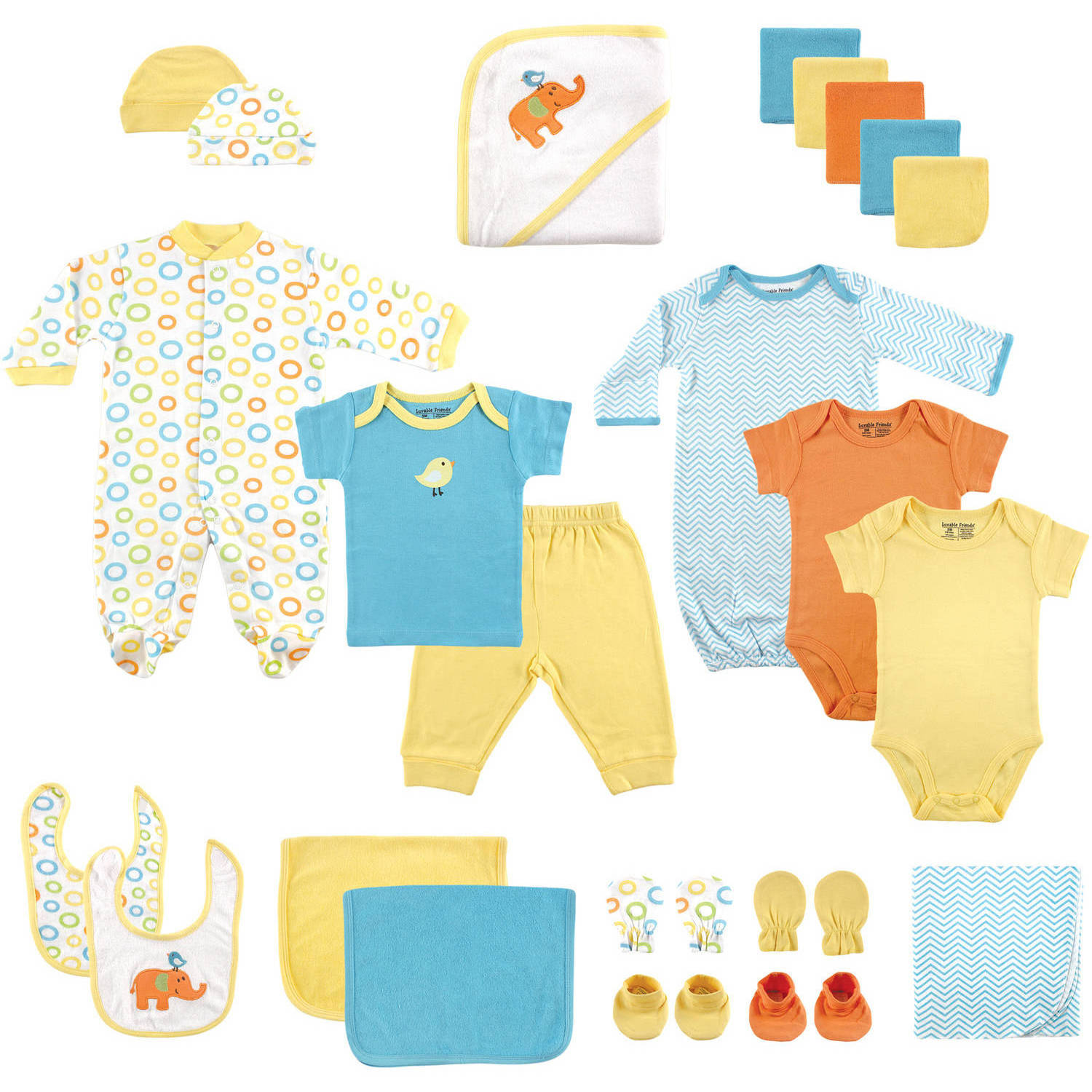 Luvable Friends Newborn Baby Neutral Deluxe Gift Cube 24-Piece Set, Yellow