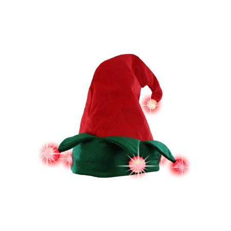 Light Up Elf Hat Lighted Red Green Jester Santa's Helper Christmas Costume Hat