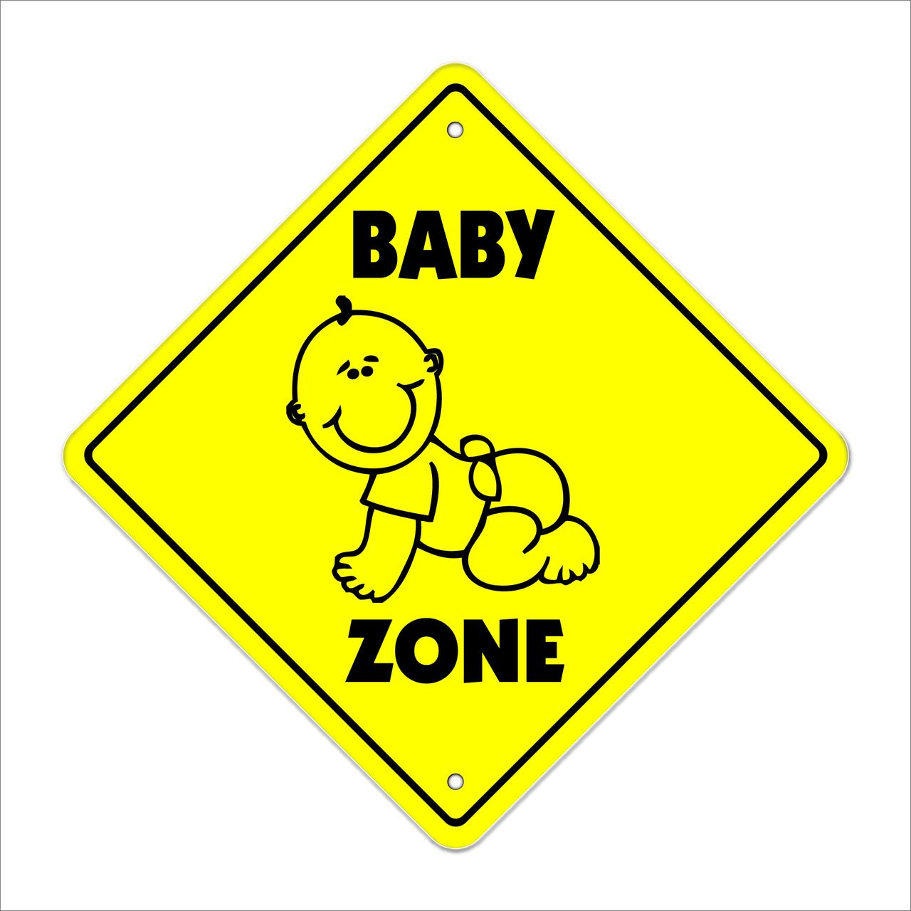 "Baby Crossing Sign Zone Xing | Indoor/Outdoor | 14"" Tall cry diaper crib room door nursury sit sitter"