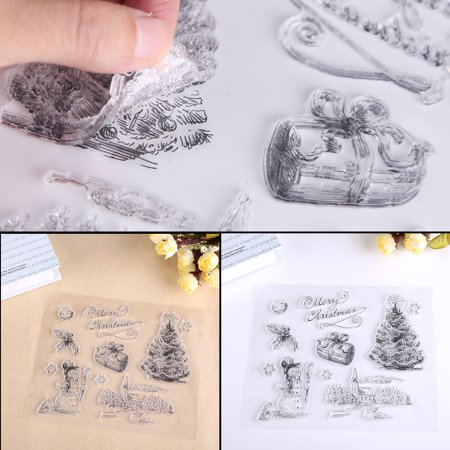 Christmas Snowman Tree Silicone Clear Stamp Scrapbook Album Home