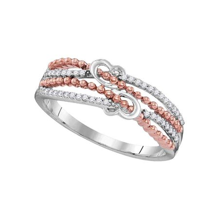All Fine Jewelry Diamond Ring (10kt White Gold Womens Round Diamond Heart Love Roped 2-tone Rose Band Ring 1/8 Cttw Diamond Fine Jewelry Ideal Gifts For Womens Gift Set From Heart)