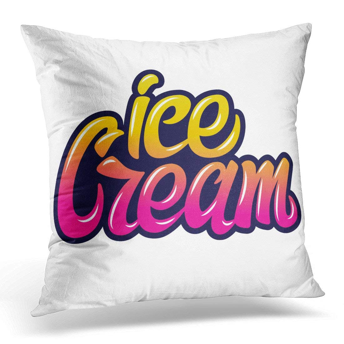 CMFUN Handwritten Lettering for Labels Badges Stickers Ice Cream Typographic for Restaurant Bar Cafe Sweet Pillow Case Pillow Cover 20x20 inch