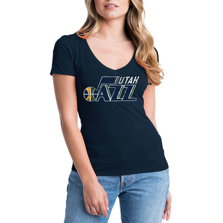 NBA Utah Jazz Women's Short Sleeve V Neck Graphic Tee