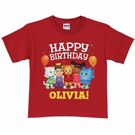 Personalized Daniel Tigers Neighborhood Kids Birthday T Shirt Red