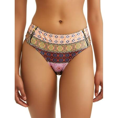 Time and Tru Women's Sundance Stripe Hipster Swimsuit Bottom