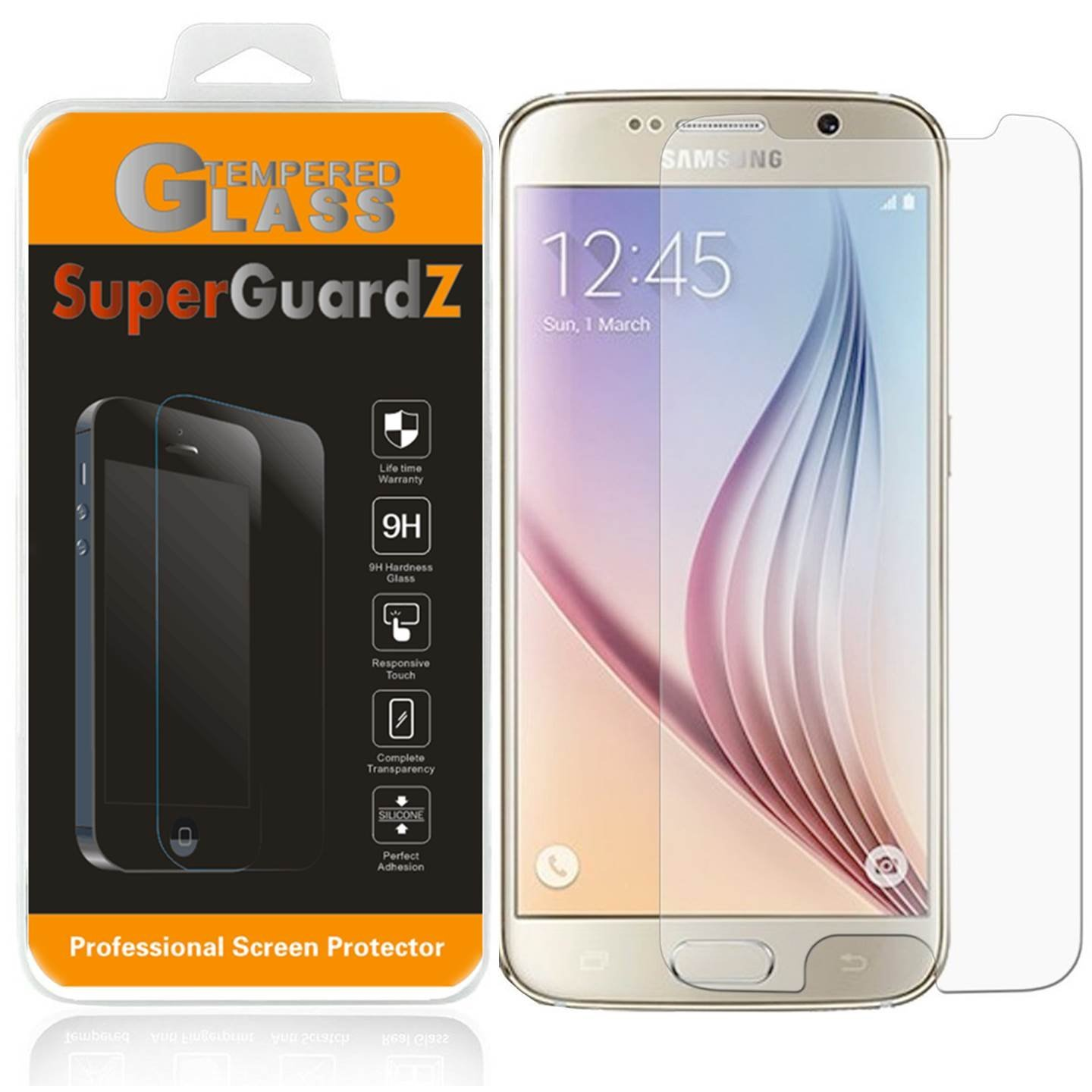 For Samsung Galaxy S6 - SuperGuardZ Tempered Glass Screen Protector, 9H, Anti-Scratch, Anti-Bubble, Anti-Fingerprint