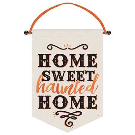 Halloween Sign Post (Halloween 'Home Sweet Haunted Home' Deluxe Canvas Hanging Sign)