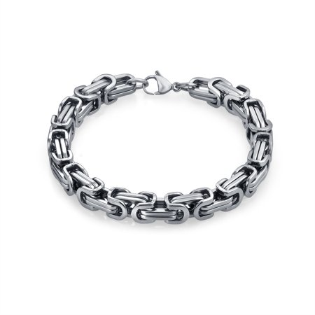 - Byzantine Chain Mechanic Link Mens Bracelet For Men Silver Tone Stainless Steel Heavy 9 Inch