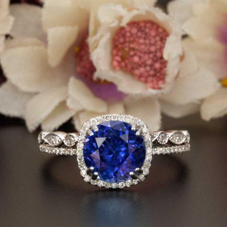 Art Deco 1.5 Carat Round Cut Real Sapphire and Diamond Bridal Wedding Ring Set with Engagement Ring and Wedding Band in 18k Gold Over (Round Cut Natural Sapphire)