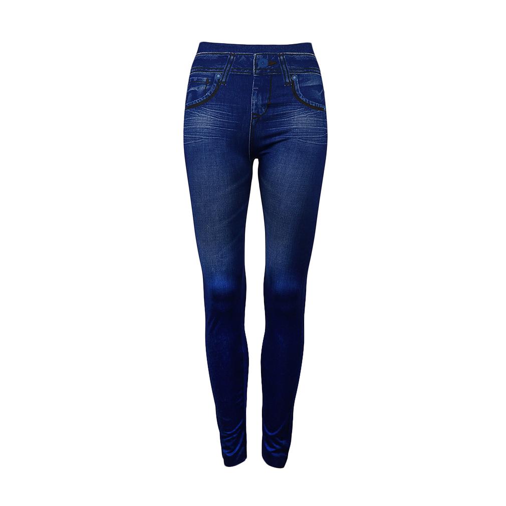 Simulation Pockets Denim Seamless Sexy Women Jeans Skinny Leggings Stretchy Slim Leggings Fashion Skinny Pants blue
