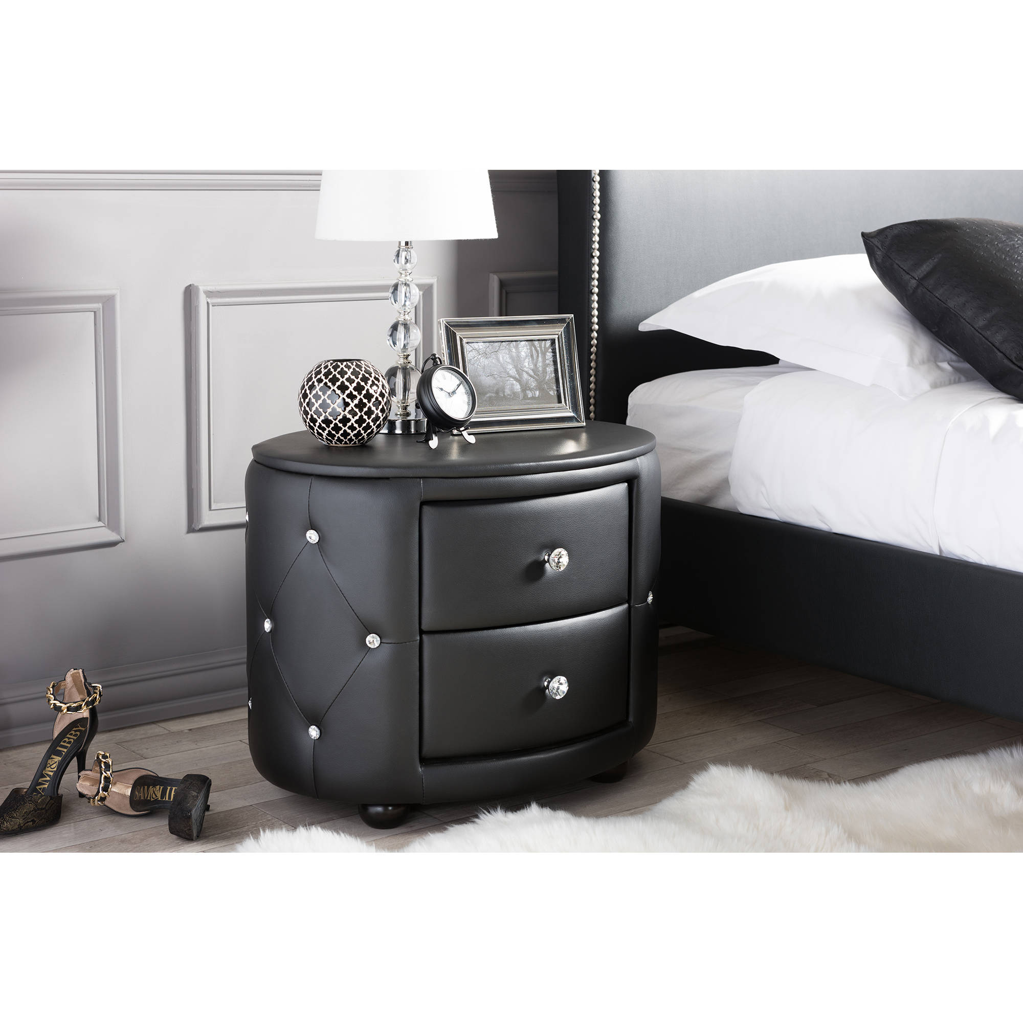 Baxton Studio Davina Hollywood Glamour Style Oval 2-Drawer Faux Leather Upholstered Nightstand, Multiple Colors