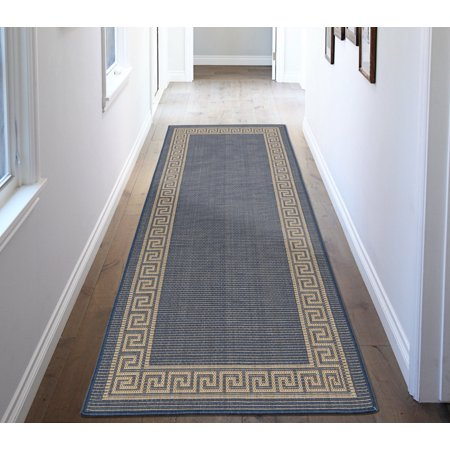 Ottomanson Jardin Collection Natural Greek Bordered Design Indoor/Outdoor Jute Backing Area Rugs and Runners