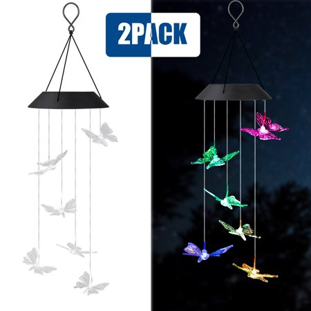 Solar Power String Lights, Color Changing LED Mobile Butterfly Wind Chimes, Mobile Portable Waterproof Outdoor Decorative,Romantic Wind Bell Light,Solar Lights for Home/Yard/Patio/Garden