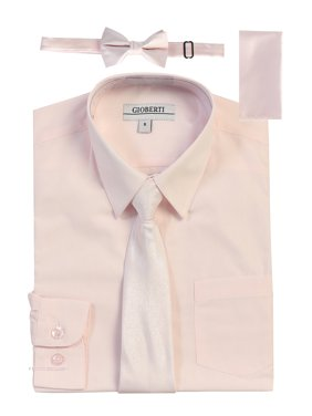 a9efd9958 Free shipping. Product Image Gioberti Boy's Long Sleeve Dress Shirt + Solid  Zippered Tie Set