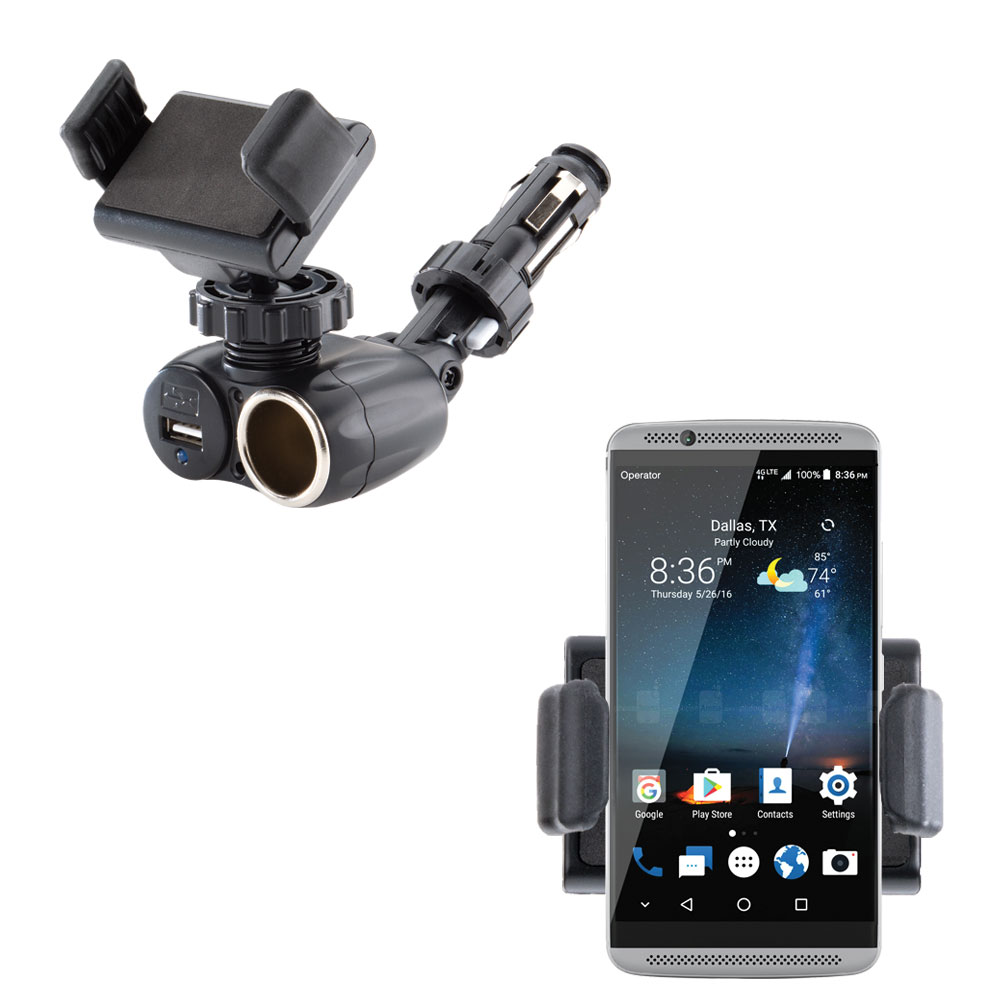 Dual USB / 12V Charger Car Cigarette Lighter Mount and Ultra Compact Holder for the ZTE Axon 7 Mini