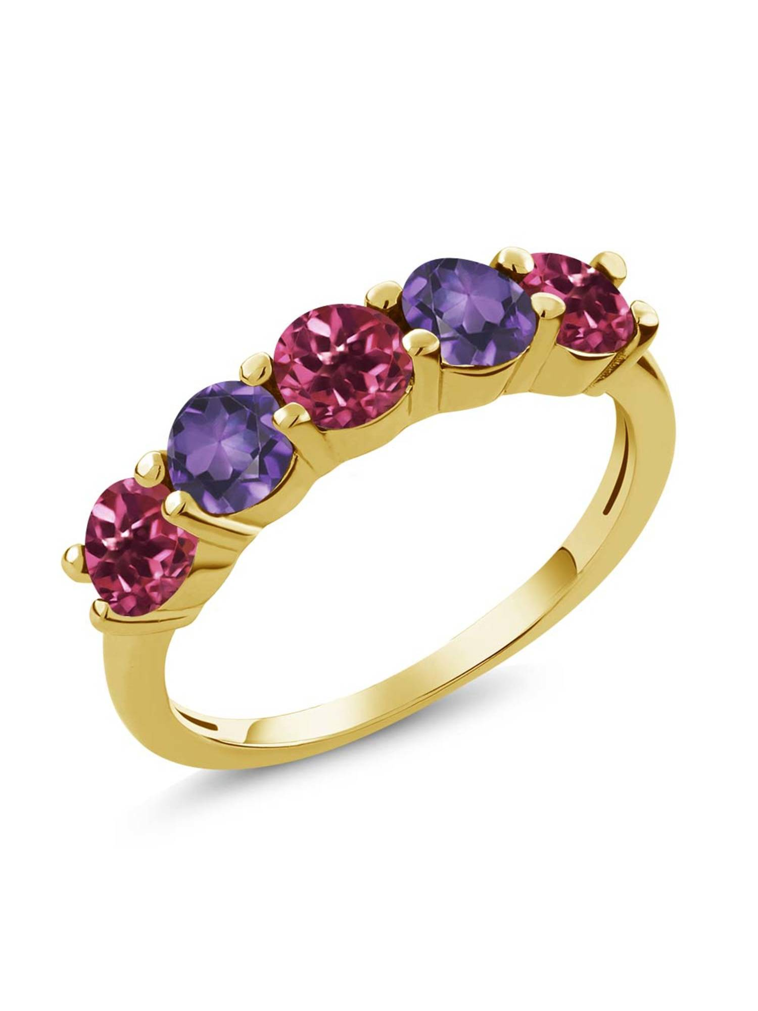 0.75 Ct Pink Tourmaline Purple Amethyst 18K Yellow Gold Plated Silver Wedding Band Ring by