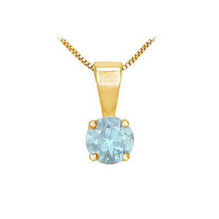 Round March Birthstone Aquamarine Solitaire Pendant 14K Yellow Gold 1.00 CT TGW - image 1 de 2