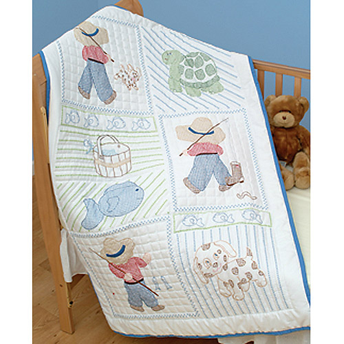 "Jack Dempsey Little Boys Stamped White Quilt Crib Top, 40"" x 60"""
