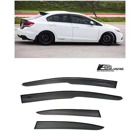 For 12-15 Honda Civic 4Dr Sedan Mugen ll Style Tape-On Side Vent Sun Shade Window Visors Rain Guard Deflectors 2012 2013 2014 2015 12 13 14 15 JDM Si FB6 4D