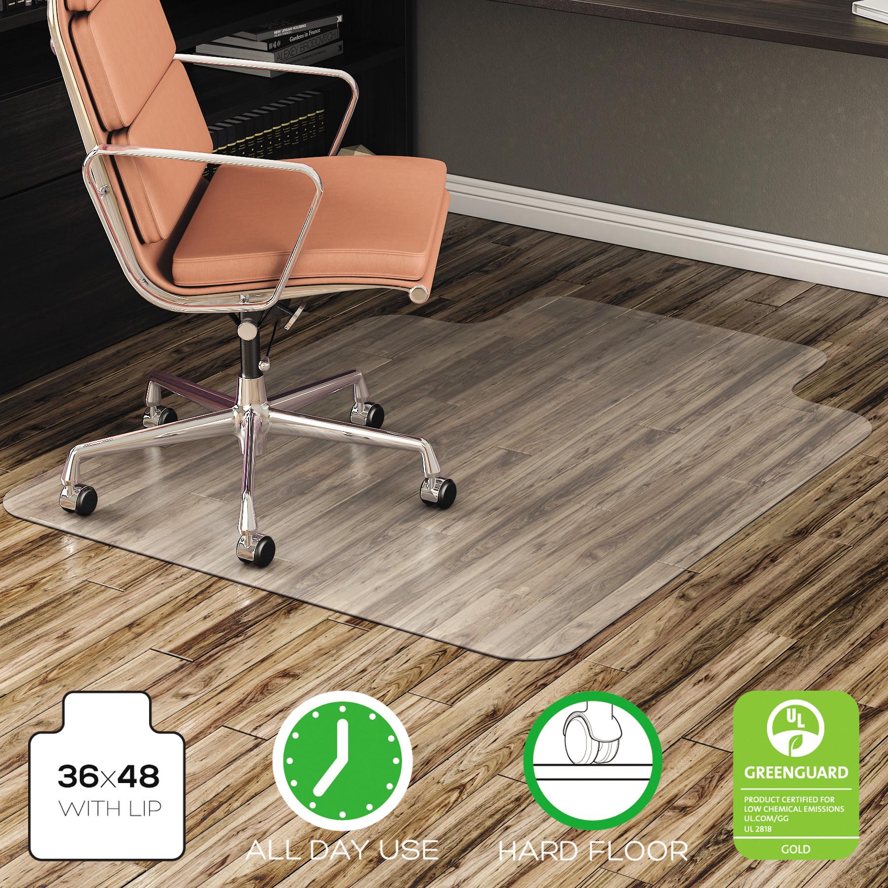 Deflecto EconoMat 36 x 48 Chair Mat for Hard Floor, Rectangular with Lip