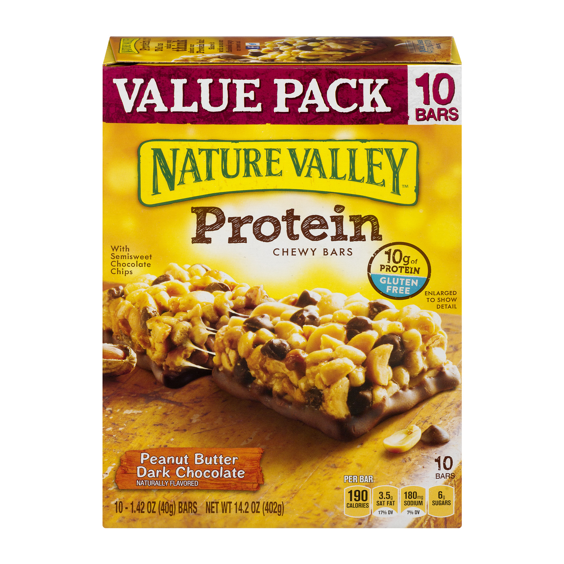 (4 Pack) Nature Valley Granola Bar Protein Peanut Butter Dark Chocolate 10 Bars