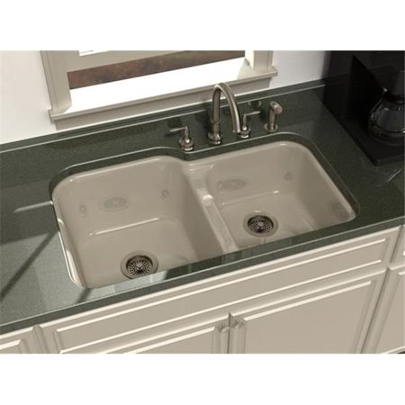 SONG S-8440-4U-61 Undercounter Kitchen Sink in Biscuit with 4 Faucet Holes