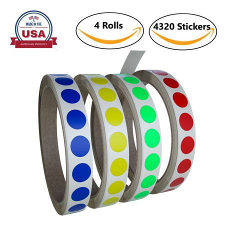 Color labels dots stickers 13mm 0.50 inch - 4320 by Royal Green - Colored Dot Stickers