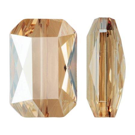 Swarovski Crystal, #5515 Emerald Cut Bead 14x9.5mm, 1 Piece, Crystal Golden Shadow (Swarovski Crystal Cubes Emerald)