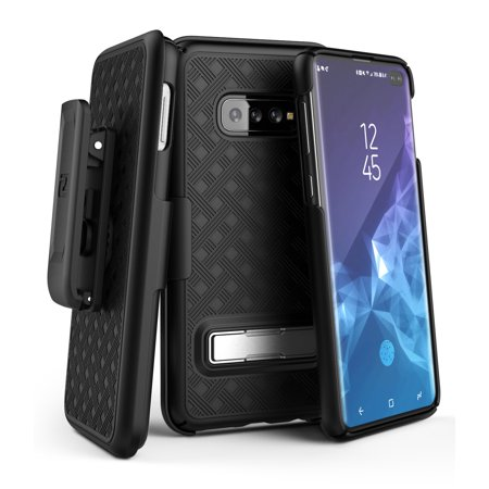 Encased Galaxy S10 Plus Belt Case with Kickstand (2019 Slimline Series) Ultra Thin Cover w/ Rotating Holster Clip (for Samsung Galaxy S10+) Black