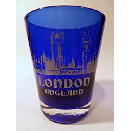 London England Cobalt Blue Frosted Shot Glass (New England Sports Shot Glasses)