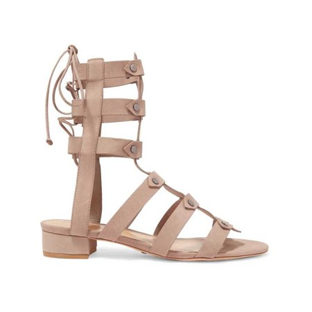 Schutz Rae Neutral Nude Nubuck Flat Tie Back gladiator sandals Mushroom