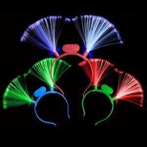 fun central i510 led light up fiber optic headbands - assorted