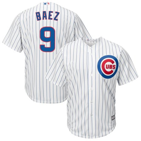 Majestic Men's Replica Chicago Cubs Javier Baez #9 Cool Base Home White Jersey 09 Home Jersey