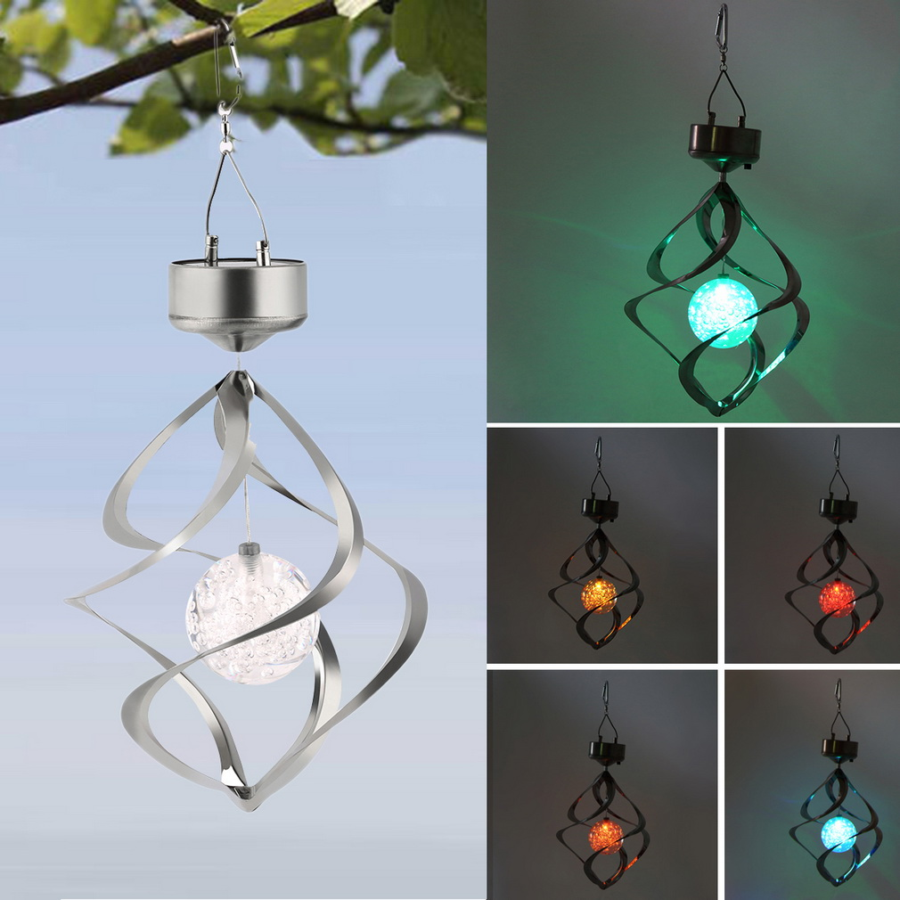 2017 New Color Changing Solar Powered LED Wind Chimes Wind Spinner Outdoor  Hanging Spiral Garden Light Courtyard Decoration   Walmart.com