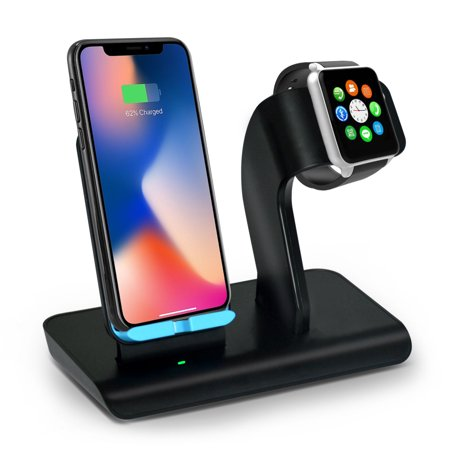Aspectek Fast Wireless Charger, Qi Wireless Charging Pad Stand for iPhone Xs/iPhone X/iPhone Xr/iPhone 8/Samsung Galaxy S8, iWatch Charging Station/Docks for Apple Watch Series 4/3/2/1 ()