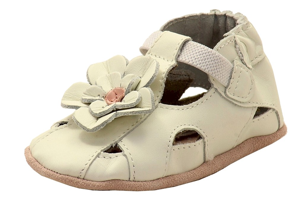Robeez Mini Shoez Infant Girl's Pretty Pansy Fashion White Sandals Shoes by Robeez