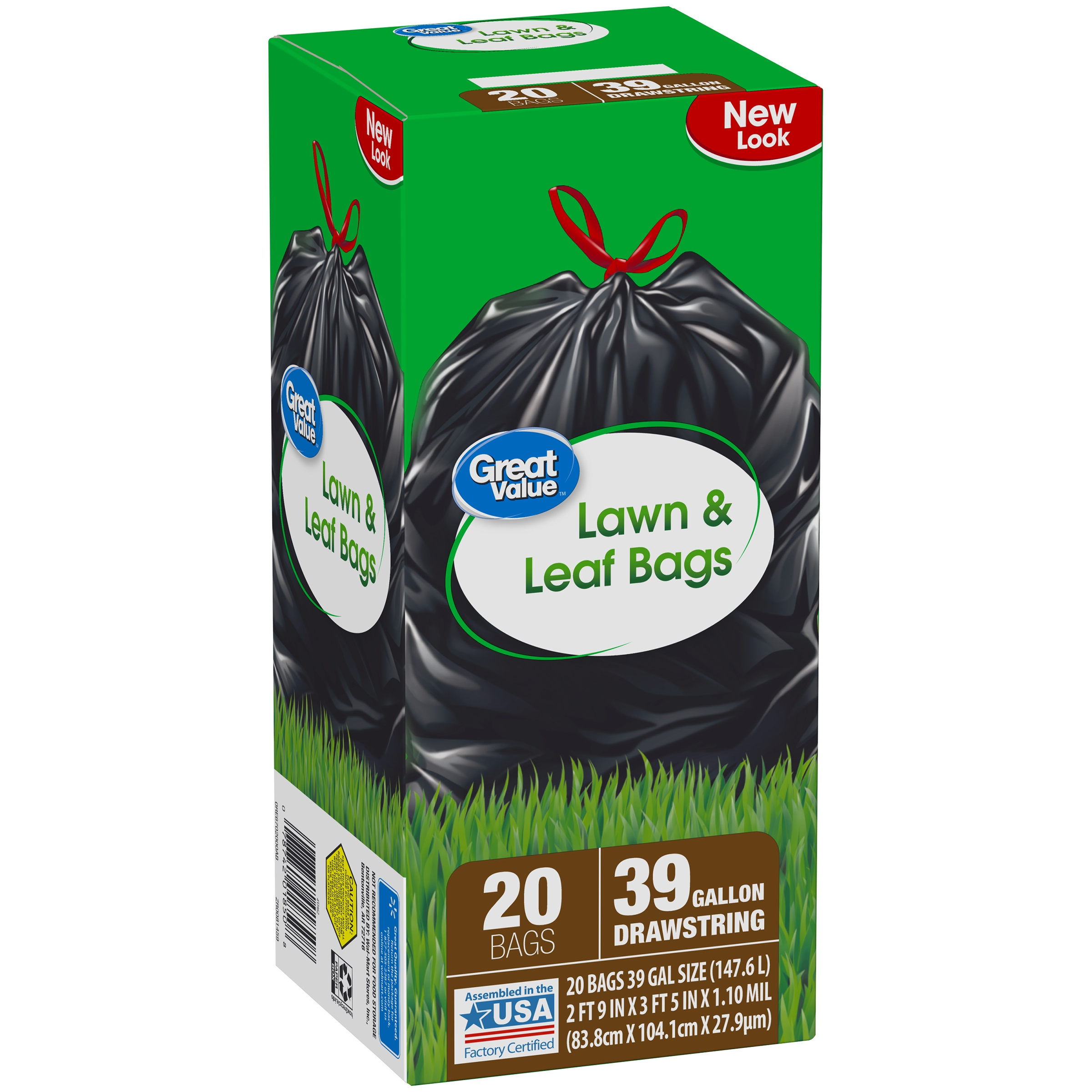 Great Value Drawstring Lawn & Leaf Bags, 39 Gallon, 20 Ct