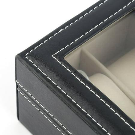 Black Plain Pattern 2 Grid PU Leather Watches Display Case Boxes Storage Box - image 9 de 10